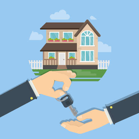 owner money: Real estate sale. Hands giving house keys. Agent and buyer.