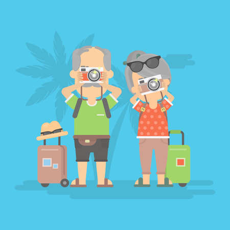 retired: Isolated retired couple on vacation. Happy funny grandparents with cameras and suitcases. Illustration