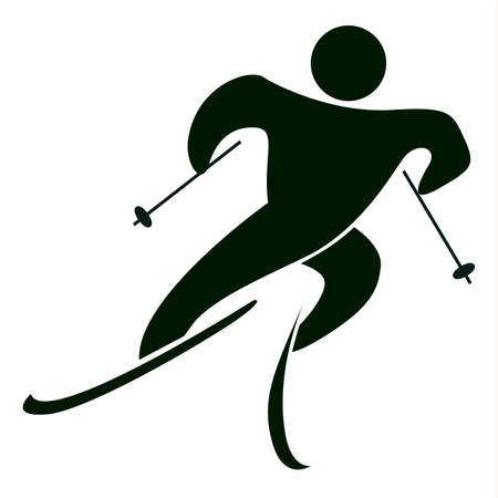 Isolated ski icon on white. Black figure of an athlet on white background. Person with sticks and ski. Illustration