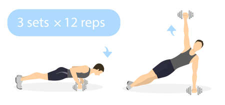 illustrated: Plank exercise with weights on white background. Plank and rotate with dumbbels. Abs exercise for men.