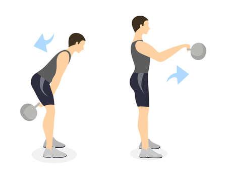 Kettlebell swings exercise on white background. Crossfit exercise for men. Illustration
