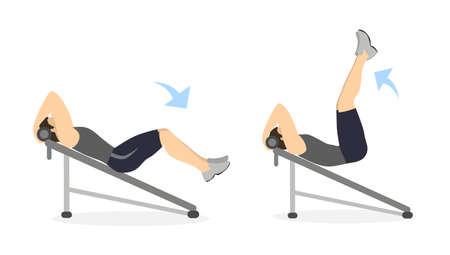 Abs exercise for men on white background. Crossfit and fitness. Workout on bench. Illustration