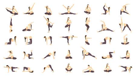 pregnancy yoga: Workout for pregnant set. Yoga training for healthy pregnancy. Illustration