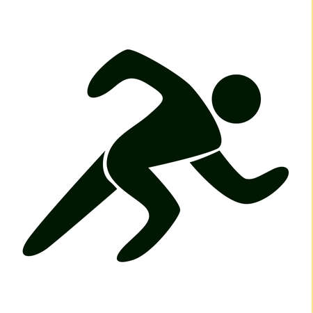 Isolated runner icon on white background. Speed race. Fitness activity.