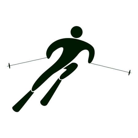 slalom: Isolated slalom icon on white background. Extreme winter sport. Illustration