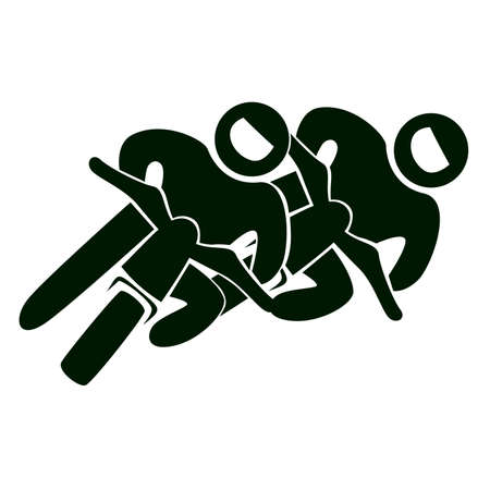 Isolated racing icon. Motorcycle racing. Black figures of athlets on white background.