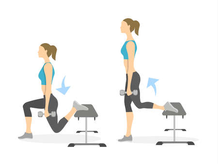 Lunge exercise for legs on white background. Healthy lifestyle. Workout for legs.