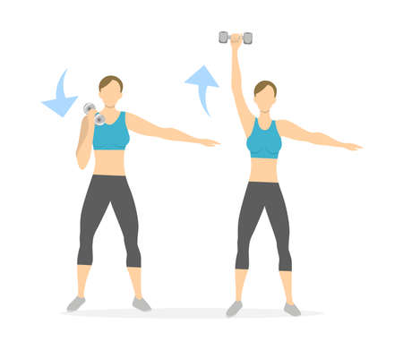Arms exercise for women on white background. Workout for arms and hands with dumbbels. Illustration