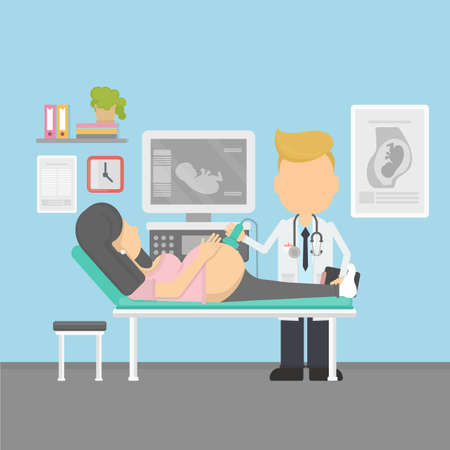 gynecologist: Ultrasonography of pregnant woman in hospital. Pregnancy. Doctor gynecologist.