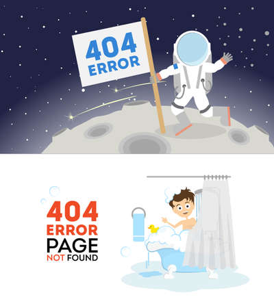 zero gravity: 404 error page not found. Set of two pictures with cosmonaut and man in bath. Internet connection problem.