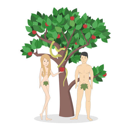 Adam and Eve near the apple tree with snake. Concept of biblical characters showing sin. Christianity.