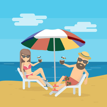 Couple at the beach on the chair with cocktails. Seashore vacation. Sunbathing and honeymoon. 矢量图像