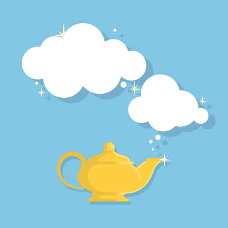 Isolated genie lamp on blue background. Arabian fairytale. Concept of wish and dream.