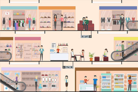 Mall indoors interior set. Floors in supermarket. People shopping and entertaining. Illustration