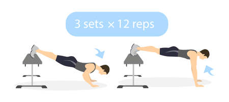 abdominal muscle exercises: Body exercise for men on white background. Crossfit and fitness. Workout with bench. Push ups with legs raised. Exercise for men. Illustration