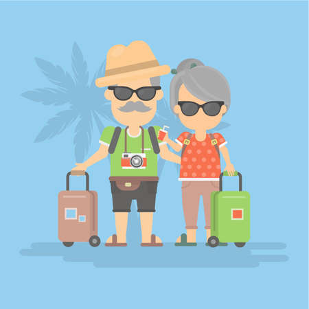 retired: Isolated retired couple on vacation. Happy funny grandparents in sunglasses with cameras and suitcases. Illustration