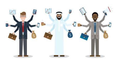 workaholic: Multitasking six hands isolated businessmen on white background. Workaholic. Talented and professional. Leadership. Illustration