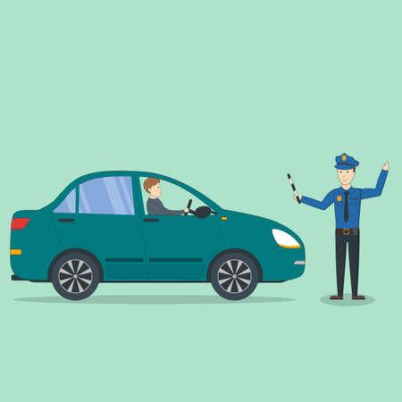 violación: accidente de coche con el policía aislado. El oficial de policía de detener el controlador para bien y violación. Vectores