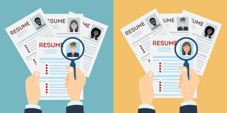 job opportunity: man and woman resume with magnifier at the table. Finding a worker. Apply for a job. Business opportunity. Cv profile. Illustration