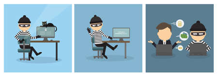 stealing data: Criminal hacker set. Funny cartoon thief in black mask stealing information from laptop. Concept of fraud, cyber crime. Money stealing.