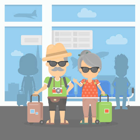 retired: Isolated retired couple on vacation. Happy funny grandparents with cameras and suitcases. Couple in the airport. Illustration