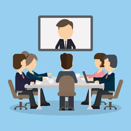 Vídeo-conferência de negócios na sala com as pessoas. Homem na tela. Discussão e comunicação. Consultoria em vídeo. Ilustración de vector