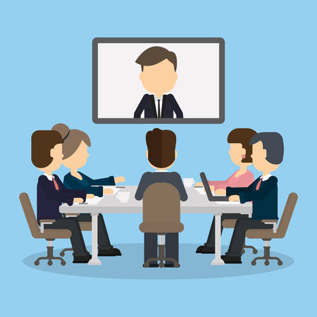 Vidéo conférence d'affaires dans la salle avec des gens. Homme à l'écran. Discussion et communication. Conseil vidéo Banque d'images - 68841708