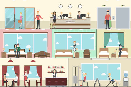 Hotel indoors interior set. Horizontal illustrations set with hotel reception, standart rooms, restaurant and gym.