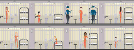 officers: Woman in jail in orange uniform illustration set. Prison interior with bed, table and toilet. Police officers and prison cells.