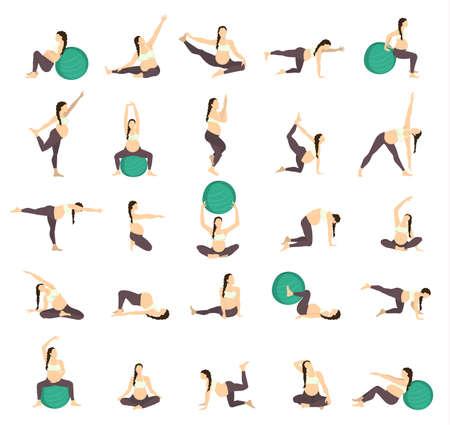 Entrenamiento para el grupo embarazada. Ejercicios con la bola del ajuste. formación de yoga.