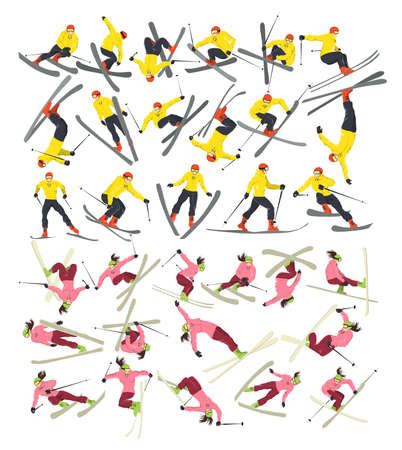 skiers: Extreme female and male skiers set on white background. Winter sport. Professional athlete.