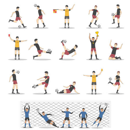 forwards: Soccer players set on white background. Goalkeepes, forwards, defenders and midfielders. Illustration