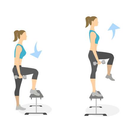 Stepup ejercicio para las piernas sobre fondo blanco. Estilo de vida saludable. Entrenamiento para las piernas. Ejercicios para mujeres. Vectores