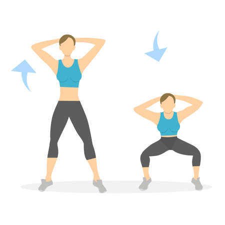 Squats ejercicio para las piernas sobre fondo blanco. Estilo de vida saludable. Entrenamiento para las piernas. Ejercicios para mujeres.