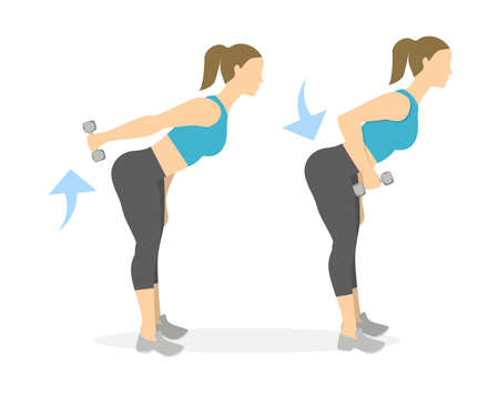 Back exercise for women on white background. Crossfit and fitness. Deadlift with weights. Illustration