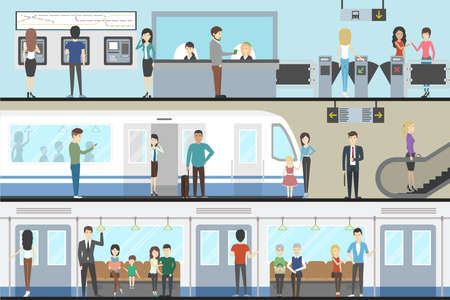 Subway interior set with train, enter and inside the railway. Illustration