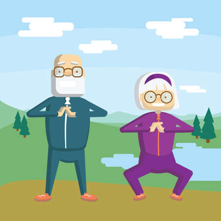 Old couple training outdoors. Active and healthy lifestyle for retired people.