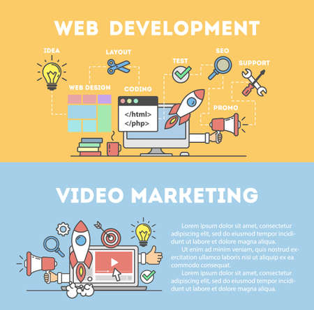 Web development concept and video marketing. Computer devices and many icons as rocket, magnifyer, loudspeaker and more.