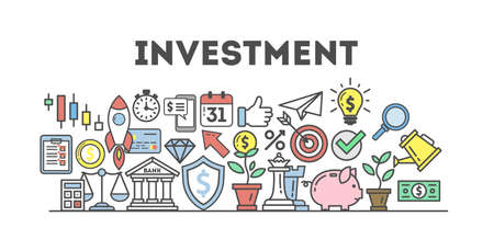 all in: Investment icons set on white background. Colorful creative icons as piggy bank, arrows, gear, money and rocket. All icons in a heap. White background.
