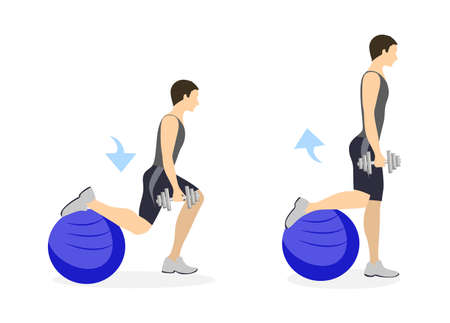 fitball: Legs exercise for men on white background. Healthy lifestyle. Crossfit and fitness. Lunges with fitball. Illustration