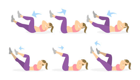 young woman legs up: Abs exercise for women on white background. Crossfit and fitness. Crunches. From fat to skinny. Illustration
