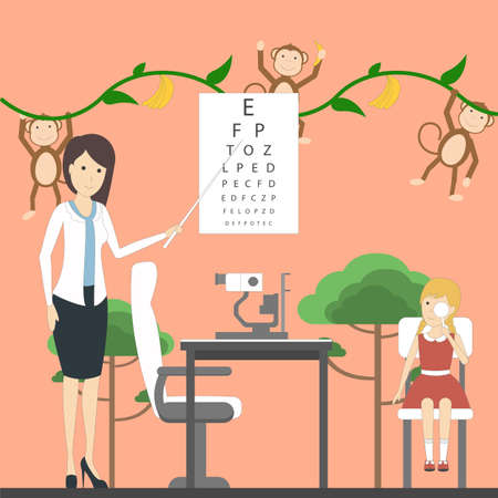 oculist: Eye exam for children with doctor and girl in ophtalmologists office with decoration. Preparing for school. Healthcare for children. Illustration