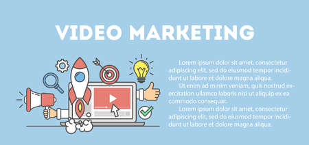 Video marketing concept poster. Digital design. Social network and media communication. Vektorové ilustrace