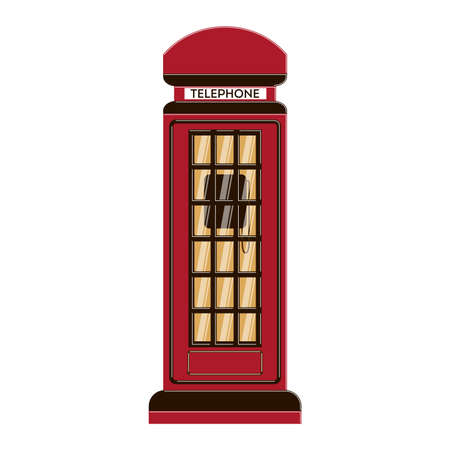 telephone box: Isolated telephone box on white background. European culture. Retro device for calling.