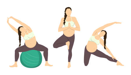 Workout for pregnant set. Exercises with fit ball. Yoga training. Healthcare for young mothers.