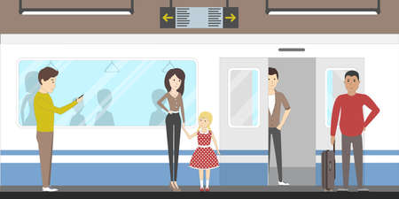 Subway interior set with train, enter and inside the railway. Train awaiting. Illustration