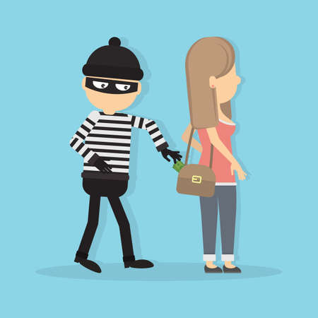 Pickpocket steals money from girl. Concept of danger and attention. Robbery and theft.