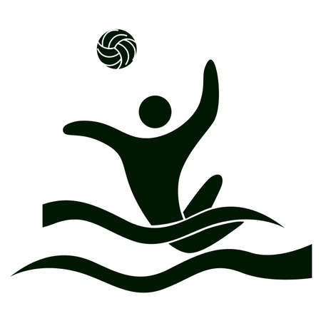 Water polo icon on white background. Black figure of an athlet. Person with ball. Illustration