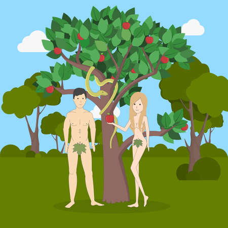 Adam and Eve near the apple tree with snake. Forest landscape. Concept of biblical characters showing sin. Christianity.
