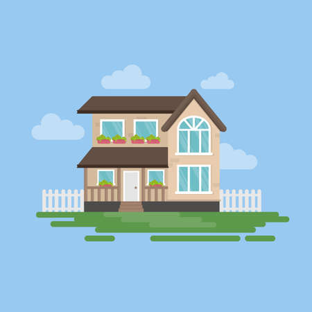 Isolated house illustartion. Exterior with clouds, grass and fence. Simple cartoon house.
